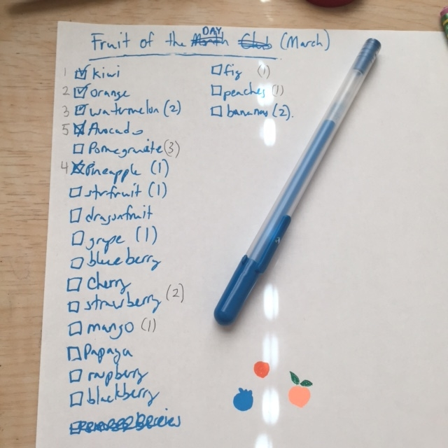 List as of today. Fruits with a number to the right were suggested by others. The number indicates the amount of votes for that fruit. The checked ones are the ones I have drawn already and the number to the left indicates the order they were done. I hope my handwriting is somewhat legible :)