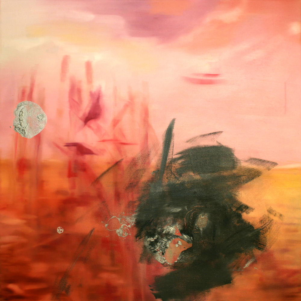 """Pink Landscape 2010 oil on canvas 40"""" x 40""""   Private Collection"""