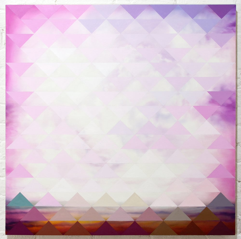 Untitled (Pink Veil)  2015 oil paint on linen 32 x 32""