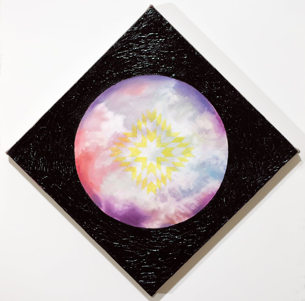 """Untitled (Black Diamond/Space is Deep) 2015 oil paint and glow pigment on linen 12 x 12"""""""