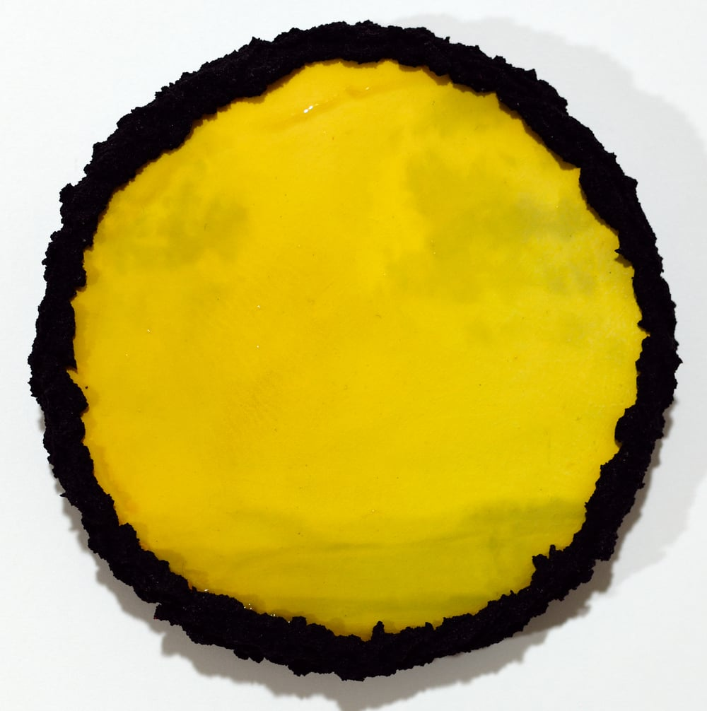 """Untitled (Black Pool) 2015 oil paint and resin on birch panel with handmade pumice frame 6"""" dia."""