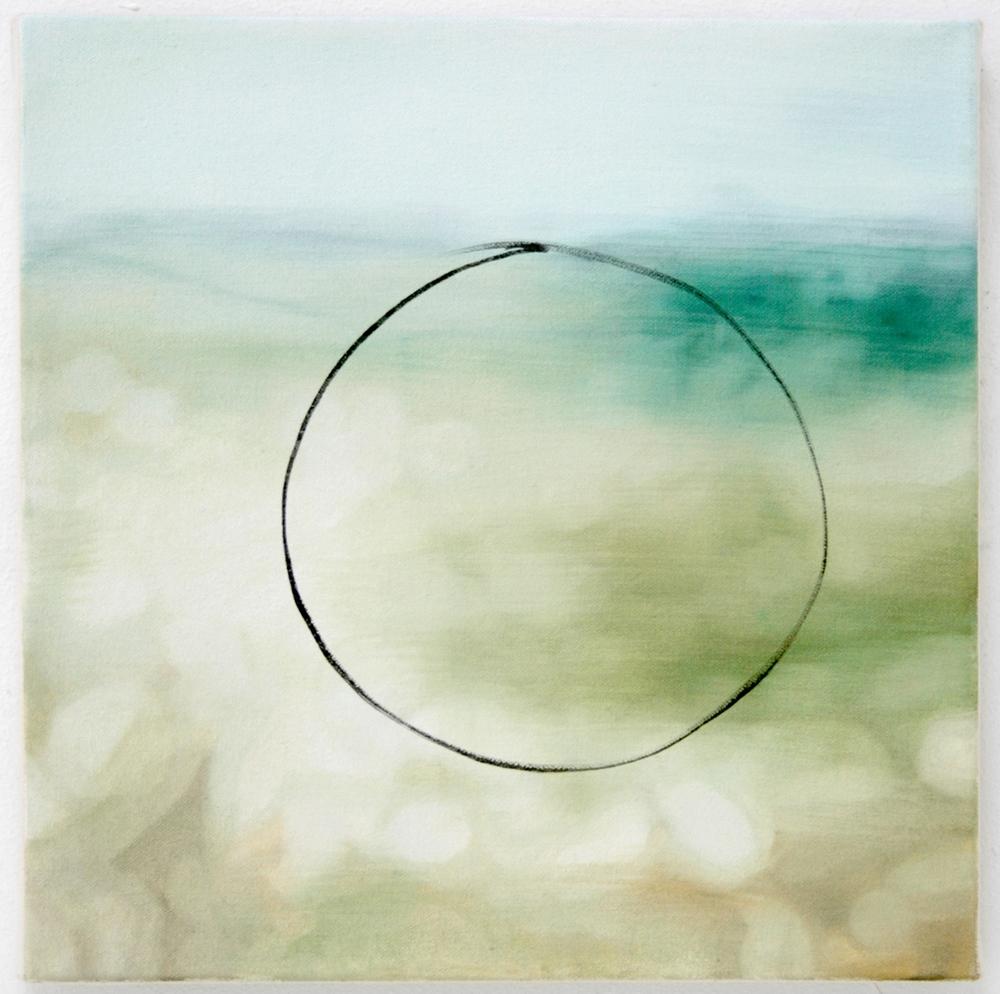 "Loop II oil on canvas 12"" x 12"" ( Ostlund, Lori.  The Bigness of the World . University of Georgia Press, 2010. )"