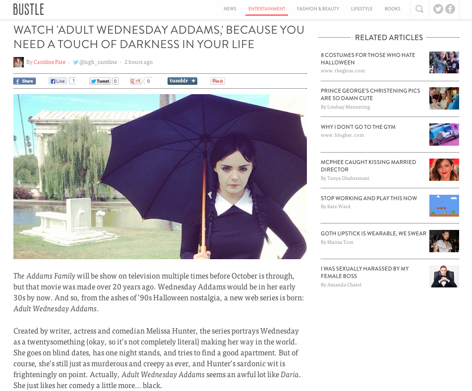 THE BUSTLE covers Wednesday Addams!
