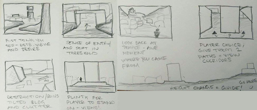 (My quick thumbnail sketches of what I want to capture and accomplish within the level)