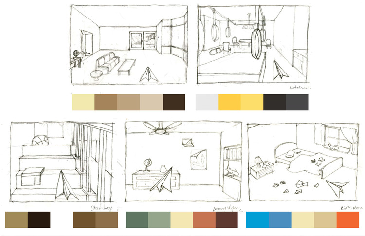 (Storyboard planning with color palette and level design)