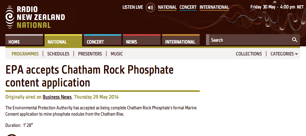 Radio NZ: EPA accepts Chatham Rock Phosphate content application