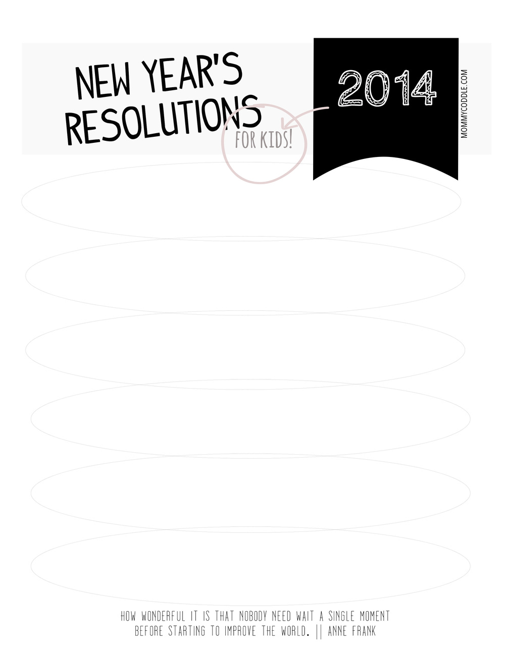 graphic regarding New Year's Worksheets Printable identified as A printable Fresh Decades Resolutions sheet for children - MommyCoddle