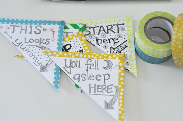 Washi tape crafts washi tape bookmarks mommycoddle for Cool ways to make bookmarks