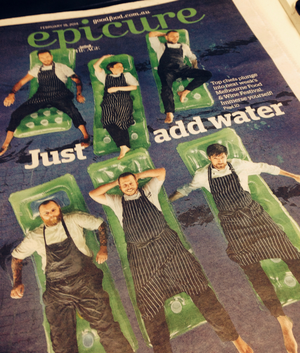 The Age Epicure cover shot for theMelbourne Food & Wine Festival 2014