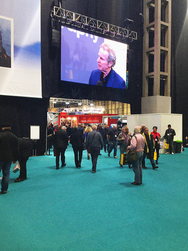 Gered Mankowitz being interviewed on the big screen at the Photography Show.