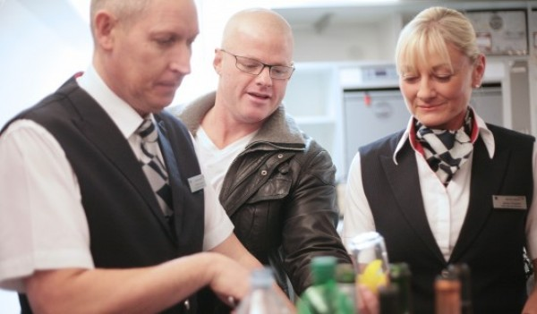 Chef Heston Blumenthal with BA cabin crew members Simon Curley and Jackie Simister. Photo credit: Nick Morrish.
