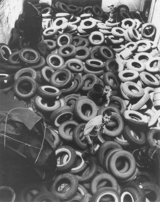 Yard  by Allan Kaprow  1961 Photo: Ken Heyman. Courtesy Research Library, The Getty Research Institute, Los Angeles, California (980063) © Ken Heyman-Woodfin Camp via Hauser & Wirth