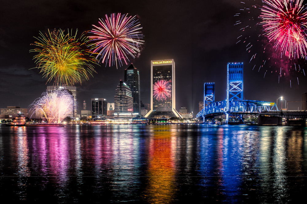 4th of July fireworks from the riverwalk in Jacksonville, Florida in 2012.