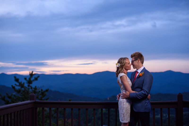 photo of a bride and groom at their destination wedding at hawkesdene in the smokey mountains at sunset
