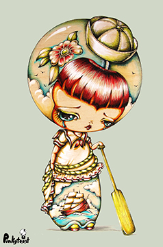 ship at sea sailor tattoo girl vintage kokeshi doll pinkytoast small.jpg