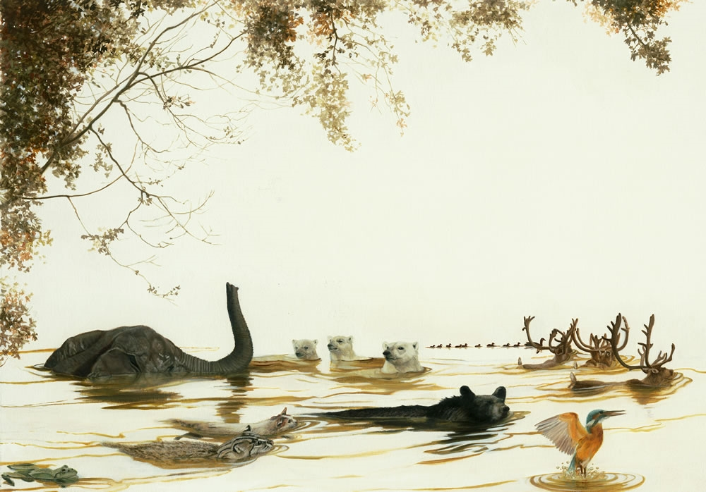"South #1, ""Swimmers,""  2011, oil on paper laminated on board, 15 x 21 1/4 inches (creatures include: Asiatic Elephant, Bobcat, common Cat, Polar Bears, Black Bears, Green Frog, White-Tailed Deer, Ducks, Eurasian Kingfisher), $5000."