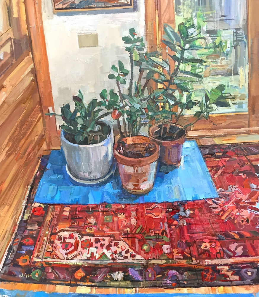 Plants Inside For Winter , 2015, oil on linen, 25 x 22 inches, $4000. (framed)