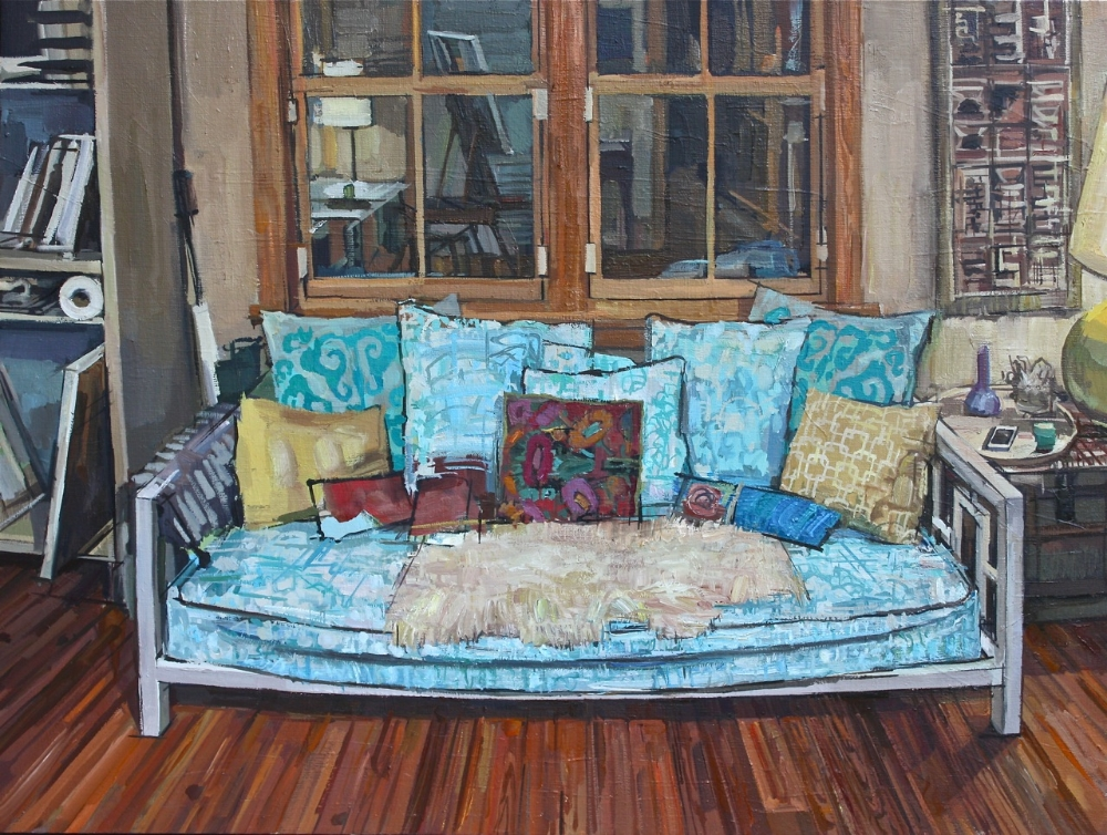 The Daybed in the Studio , 2012, oil on linen, 21 x 28 inches, $4000.