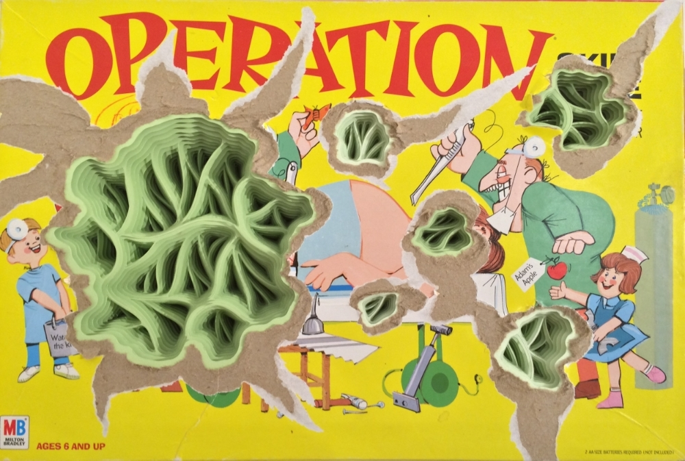 Operation,  2014, hand-cut paper sculpture, found board game and wood, 10.5 x 15.75 x 3.25 inches, $1000.