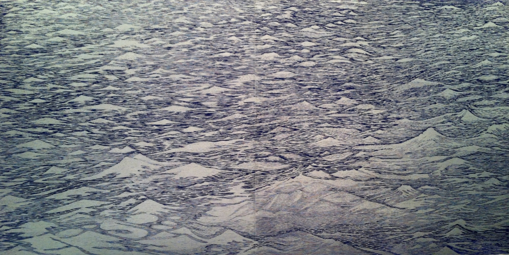 Silver Seascape Diptych 1,  2014, woodcut print with colored and silver inks on paper, edition 1/1 (monotype), 36 x 36 inches (unframed) (each), 36 x 72 inches (unframed) (diptych), $3000. (unframed) (each), $6000. (unframed) (diptych)