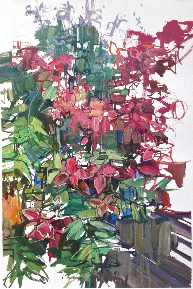 Red Flowers , 2014, oil/graphite on paper, 22 x 15 inches (unframed), $1350. (unframed), 27.25 x 20.25 inches (framed), $1500. (framed)