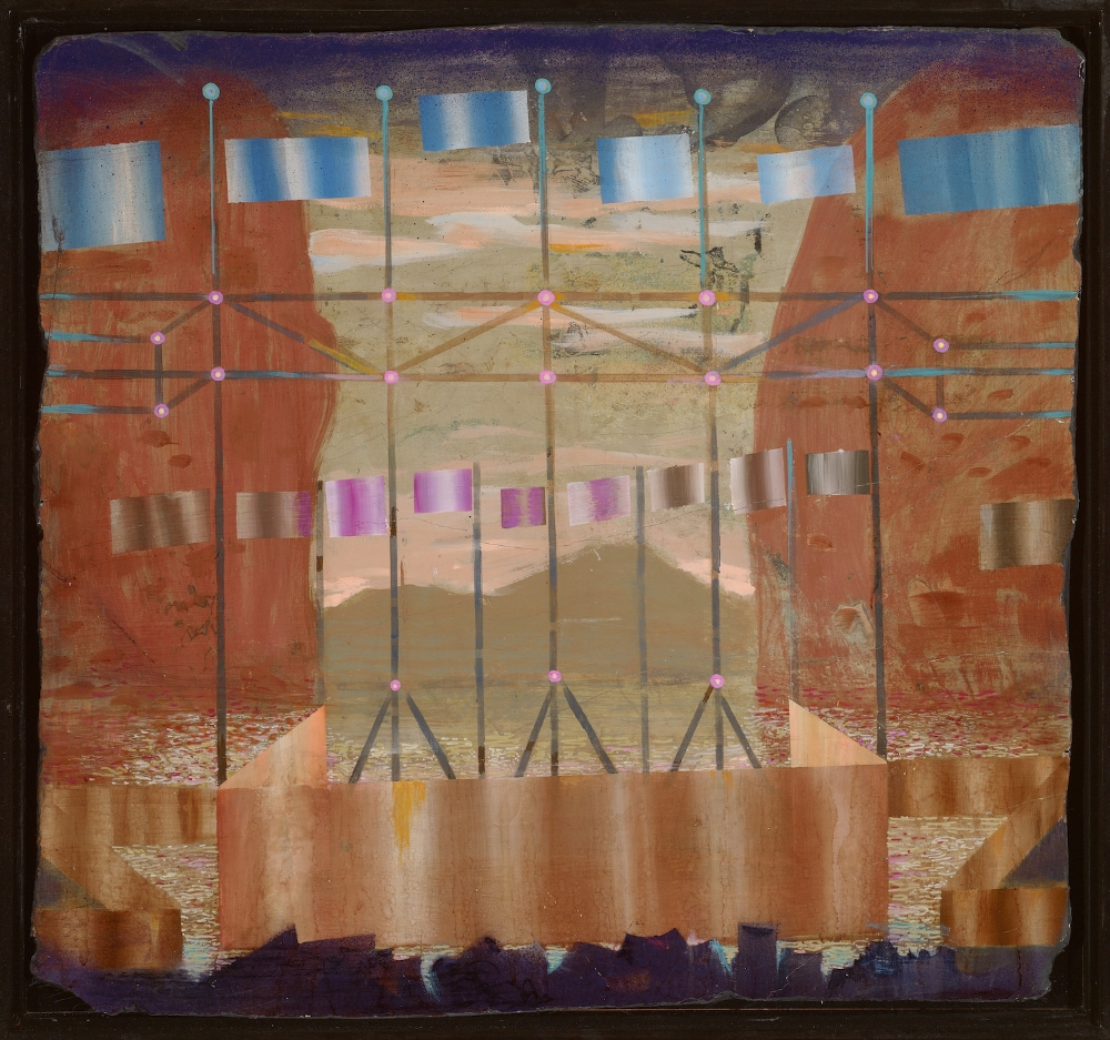 Flooded Bandstand , 2015, acrylic and pigmented plaster on styrene, 38 x 20 inches, $4000. (framed)