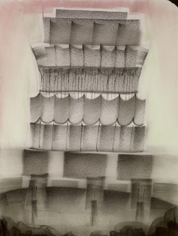 Outskirts 3 , 2014, charcoal and chalk on paper, 24 x 18 inches (framed), $1800.