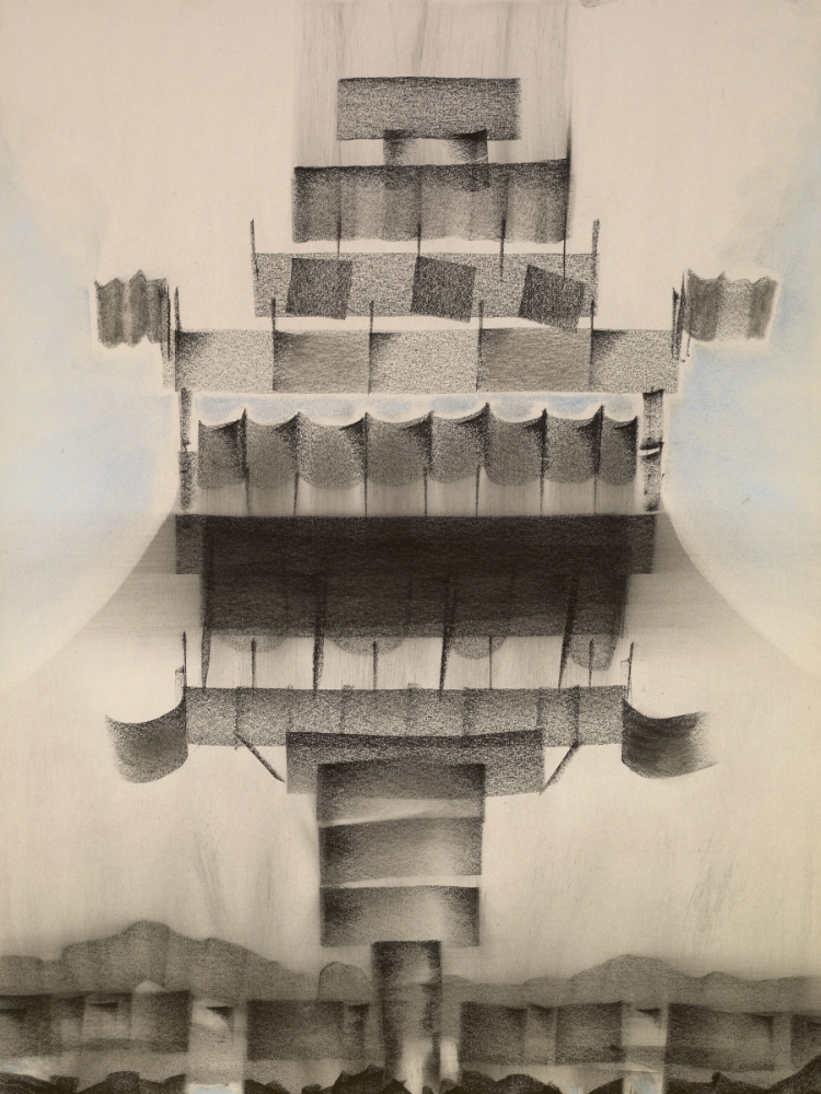 Outskirts 9 , 2014, charcoal and chalk on paper, 24 x 18 inches (framed), $1800.