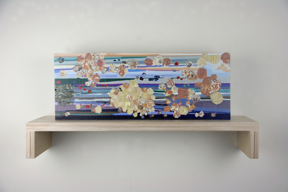 The Clouds 2 , 2015, encaustic (pigmented beeswax), 7.75 x 20 x 2.5 inches, 14 lbs., $4200.