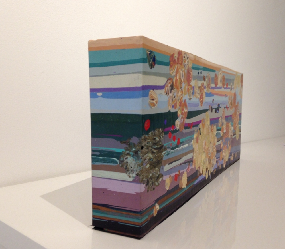 The Clouds 2  (side view), 2015, encaustic (pigmented beeswax), 7.75 x 20 x 2.5 inches, 14 lbs., $4200.