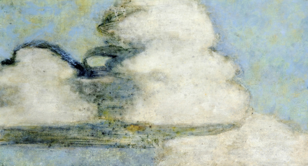 Cumulus, 1:15 , 2014, oil on canvas mounted on panel, 24 x 43.5 inches, $4200.