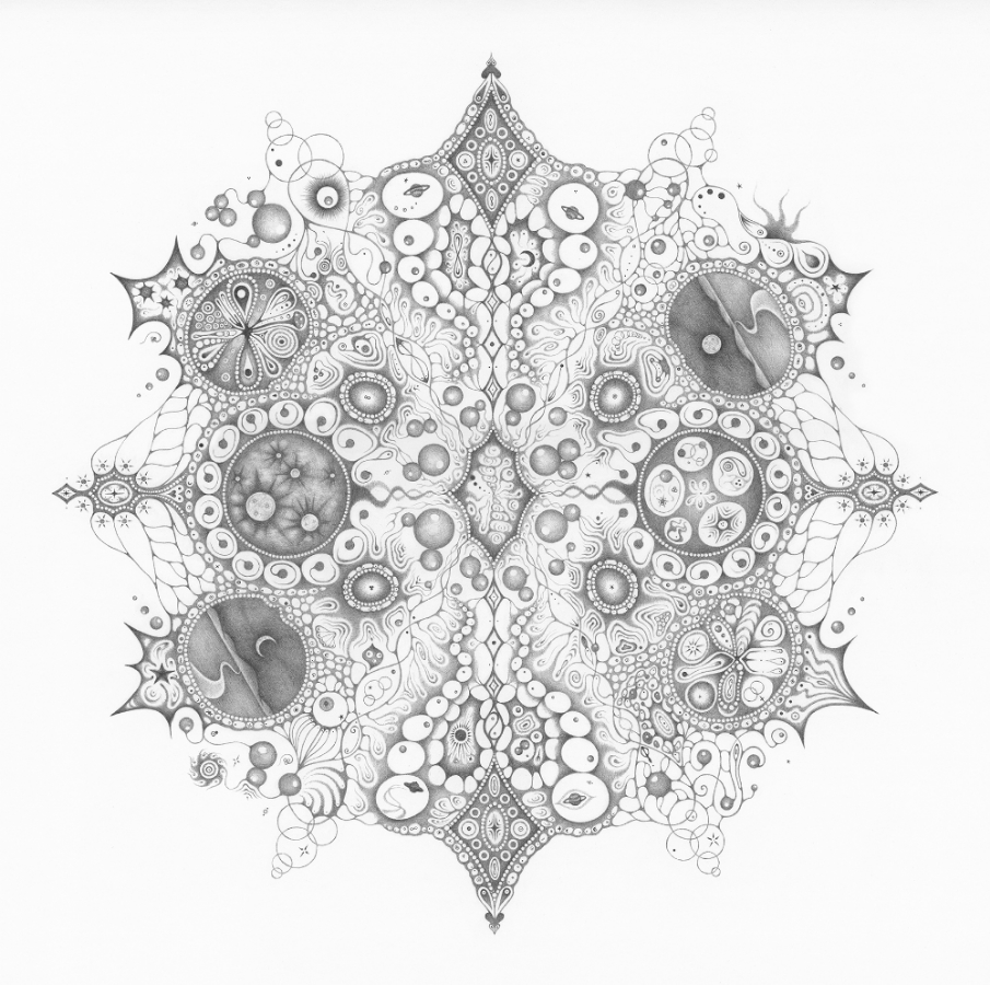 Snowflakes #125, hand-drawn graphite on paper, 25 x 25 inches, $5000 (framed).