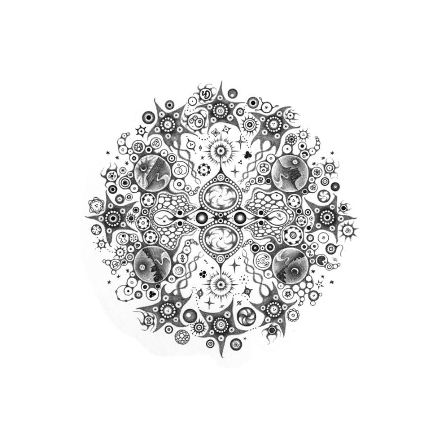Snowflakes #114 , 2014, hand-drawn graphite on paper, 11.75 x 11.75 inches, $1000 (framed).