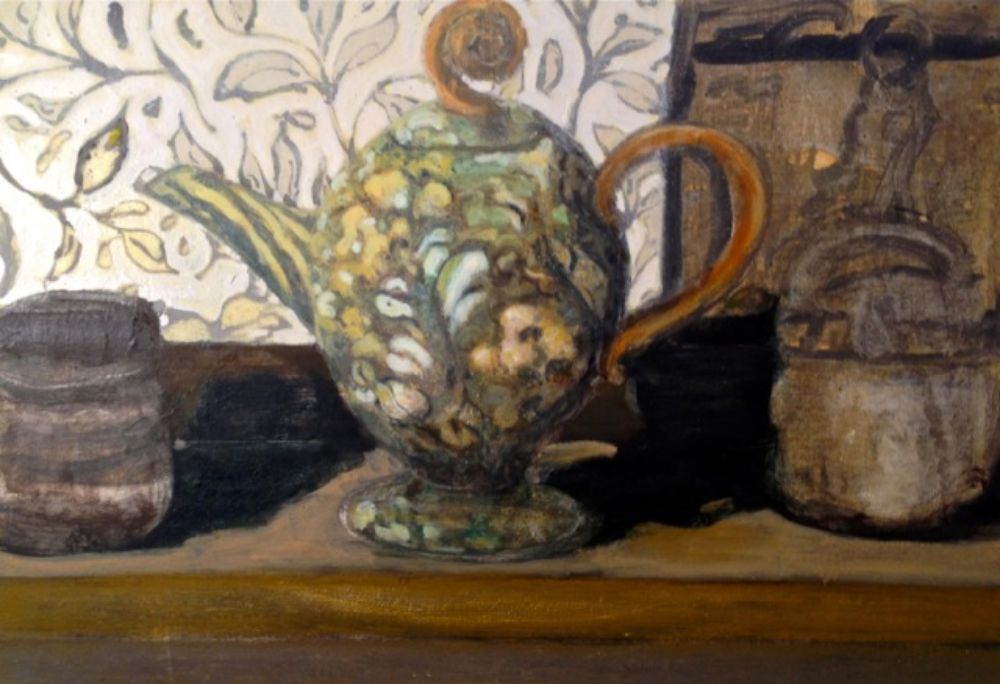 Tea 2,  2012, oil on canvas, 24 x 35 inches, $4000.