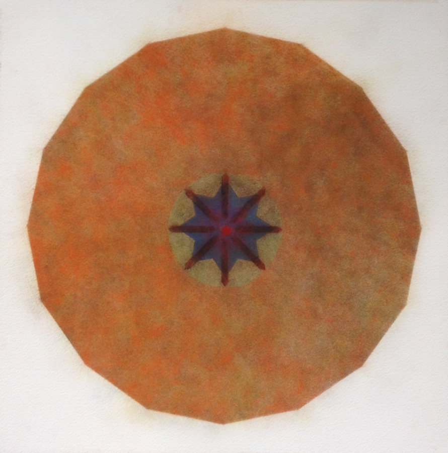 Cappiadoccia, (Orange),  2010, powdered pigment on paper, 14 x 14 inches, $950. (unframed)