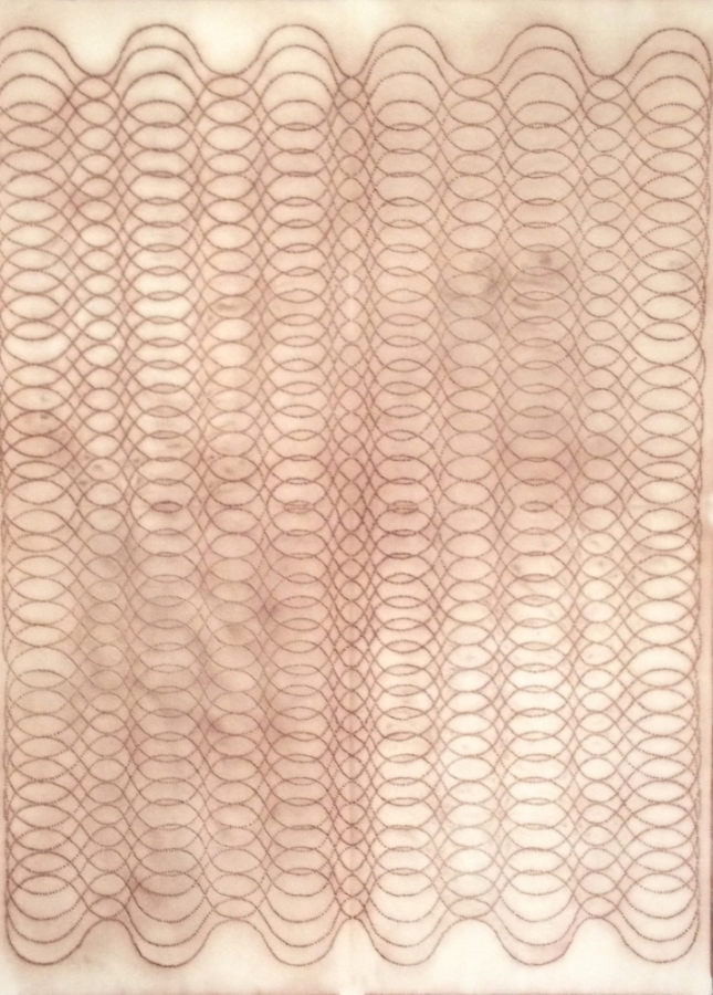 Automatic Writing Series No. F4 , 2003, perforated stencil laid on Somerset 100% rag paper and pounced with a sack of powdered pigment, 30 x 21.75 inches, $1800. (unframed)
