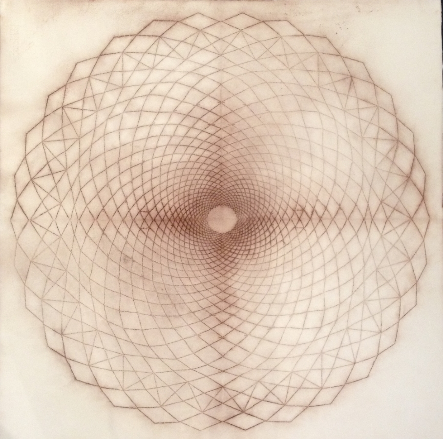 Circle Spiral, 02,  2008, spolvero drawing on paper (perforated stencil laid on Somerset 100% rag paper and pounced with powdered pigment), 30 x 30 inches, $2000. (unframed)