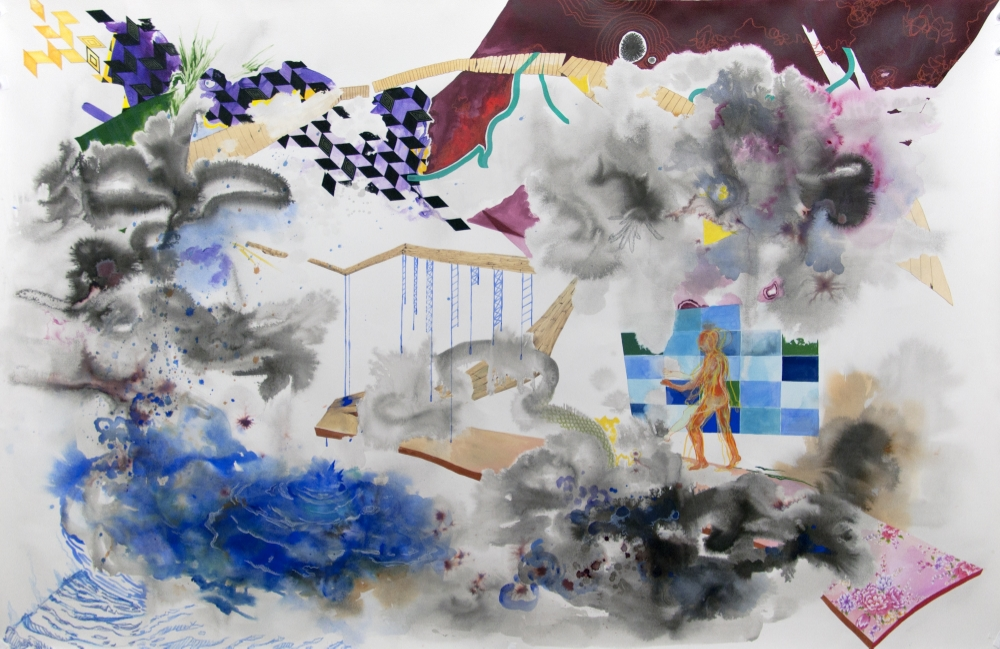 Untitled , 2015, ink, gouache, watercolor, pastel, graphite and acrylic on paper, 52 x 78 inches, $3000. (unframed)
