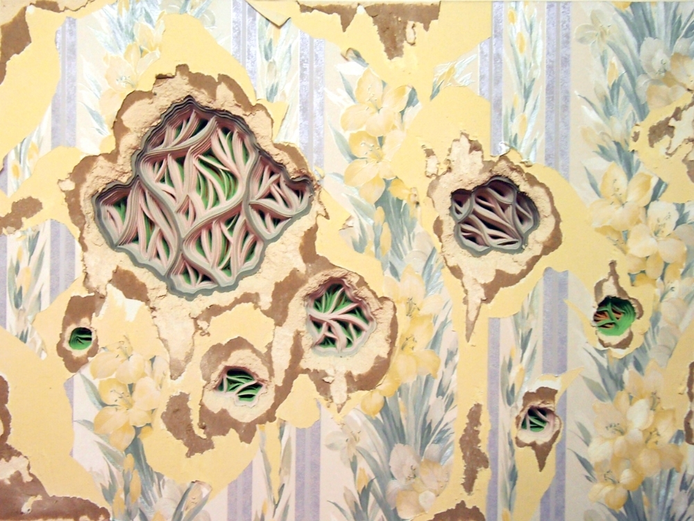 Radimafungle Metastication Stage 1 , 2014, hand-cut paper and wallpaper on distressed drywall, 24 x 36 x 4 inches, $2300.
