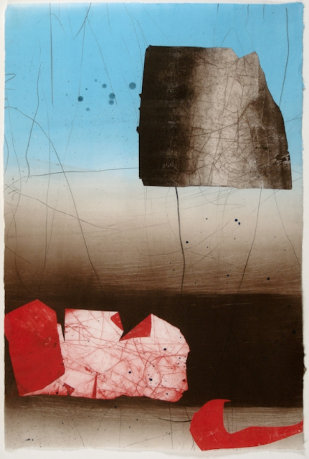 Coral Coulee , 2005, monotype on rice paper, 36.25 x 25 inches, 44.5 x 32 inches (framed), $2000. (unframed), $2800. (framed)