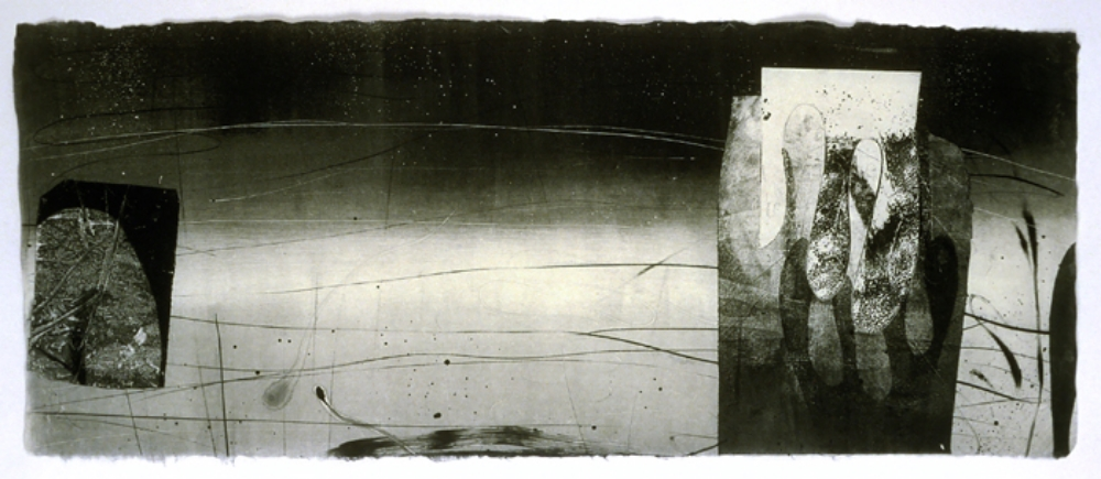 Contrails and Slip Stream 36,  2003, monotype on rice paper, 14.5 x 35 inches, $1700.