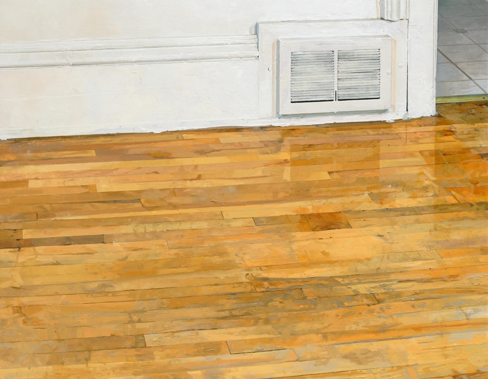 Vent and Dining Room Floor , 2013, oil on panel, 35 x 45 inches, $6500.