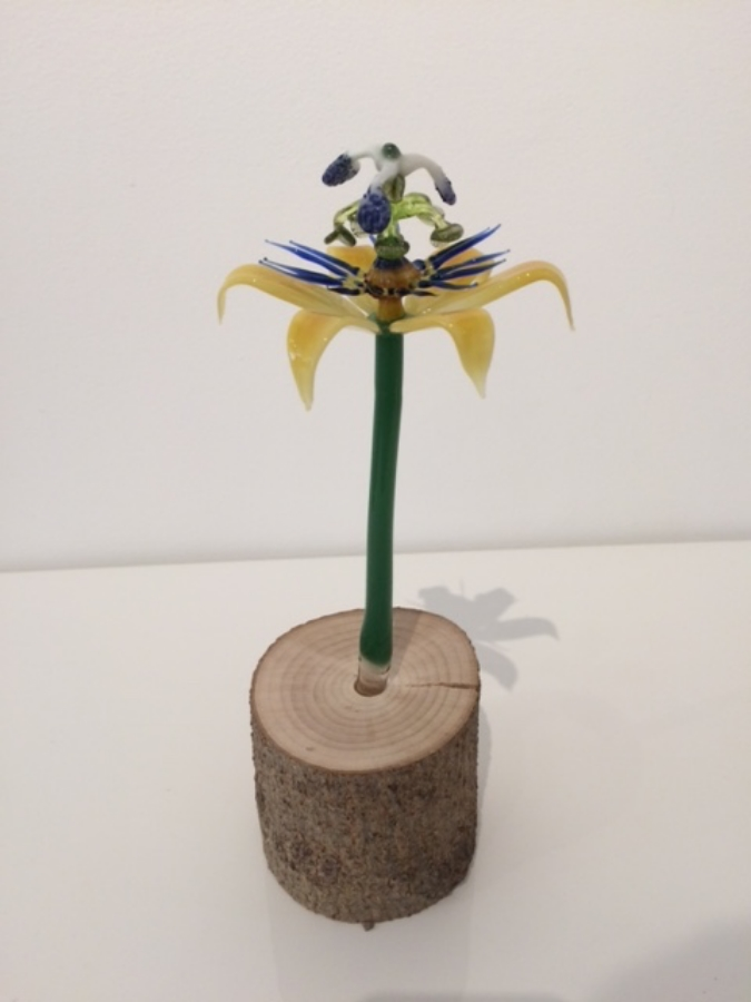 Passionflower , 2015, torch-worked borosilicate glass and driftwood, 9.5 x 3 x 2.75 inches, $350.