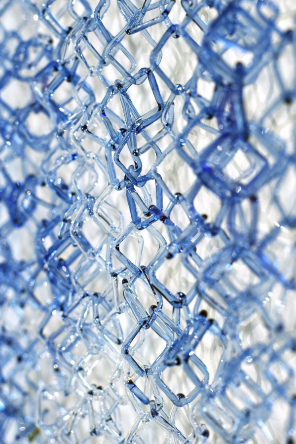 Blue Fade  (detail), 2014, torch-worked borosilicate glass, 50 x 20 x 1 inches, $6000. (sold)