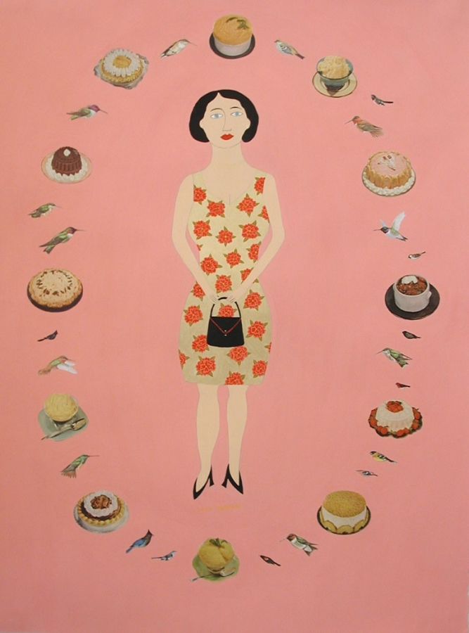 Lucy Fradkin,  All Dressed Up and Nowhere to Go,  2002, acrylic gouache and collage on paper, 30 x 23 inches (unframed), 33.25 x 26.25 inches (framed), $4500. (framed)