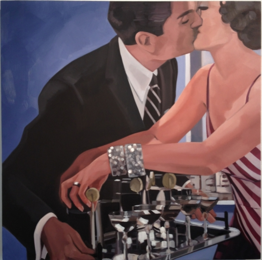 Kiss , 2012, oil on panel, 24 x 24 inches, $2800. (sold)