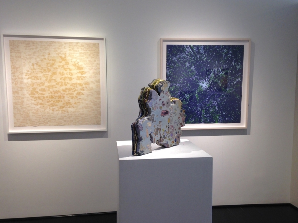 installation view with sculpture by Laura Moriarty