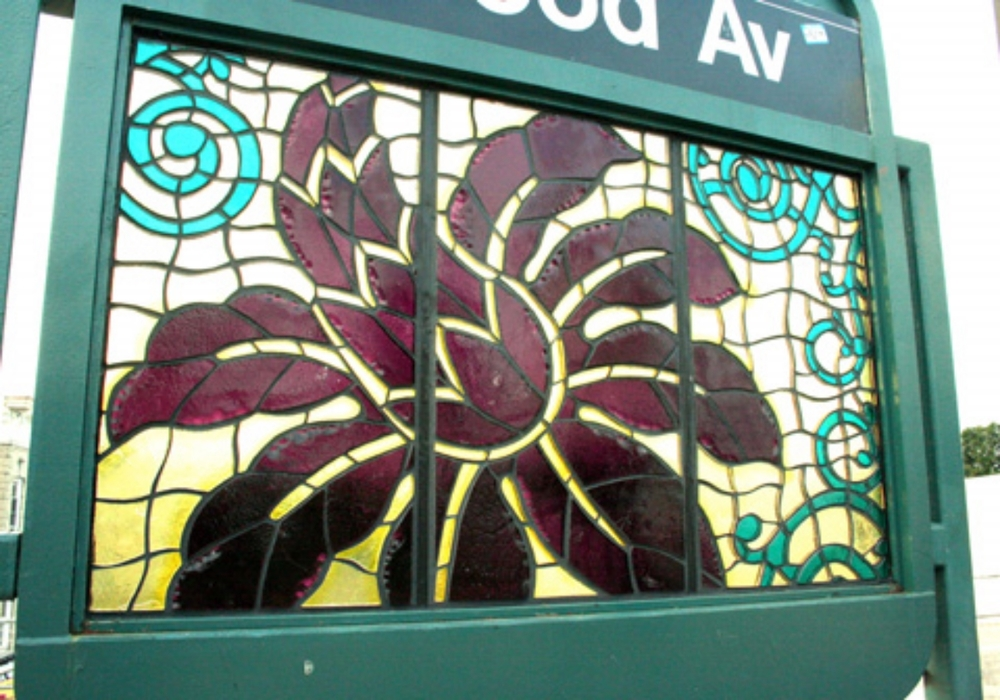 Culture Swirl,  2007,  MTA Art & Design, Norwood Avenue station, Brooklyn, NY, faceted glass in platform windscreens