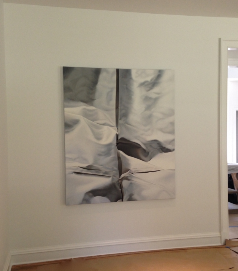 Pale Gray No. 2  (installation view), 2015, oil on canvas, 66 x 56 inches, $13,000.