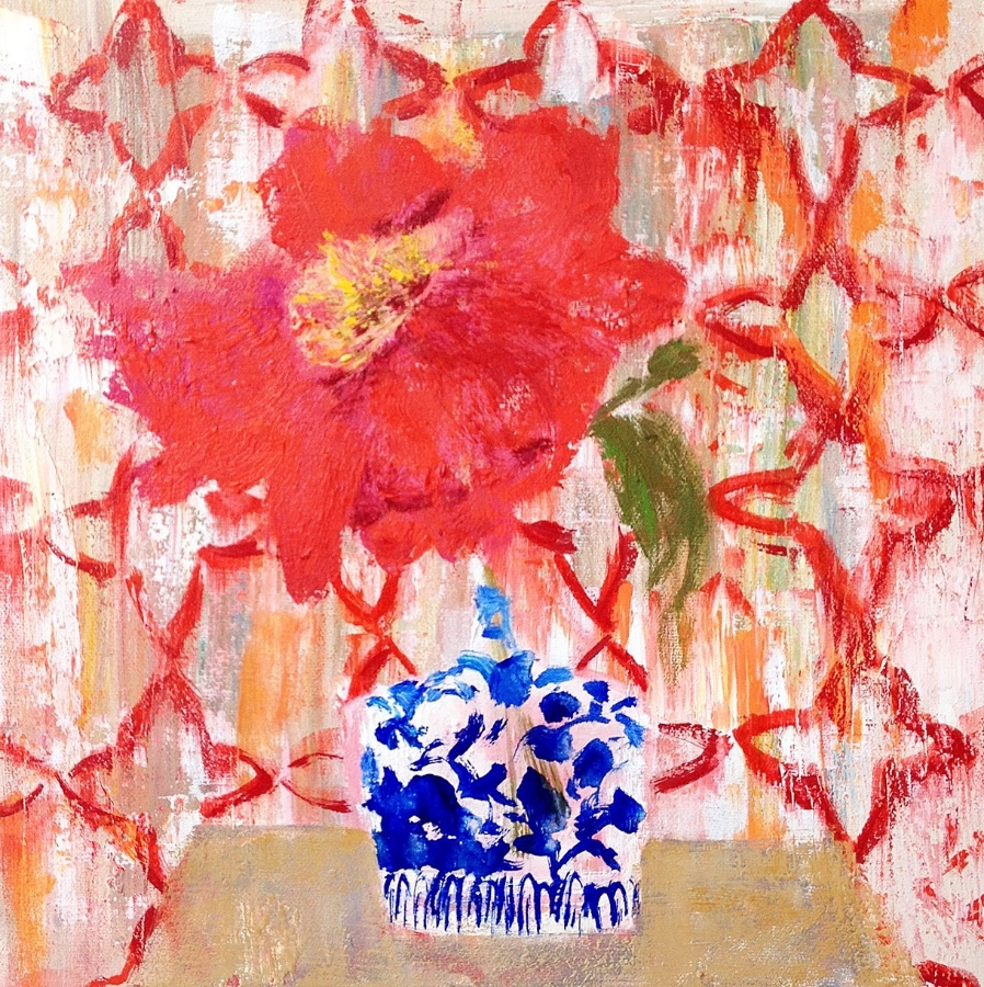 Peonies in Ming , 2015, oil on canvas, 12 x 12 inches, $1600.